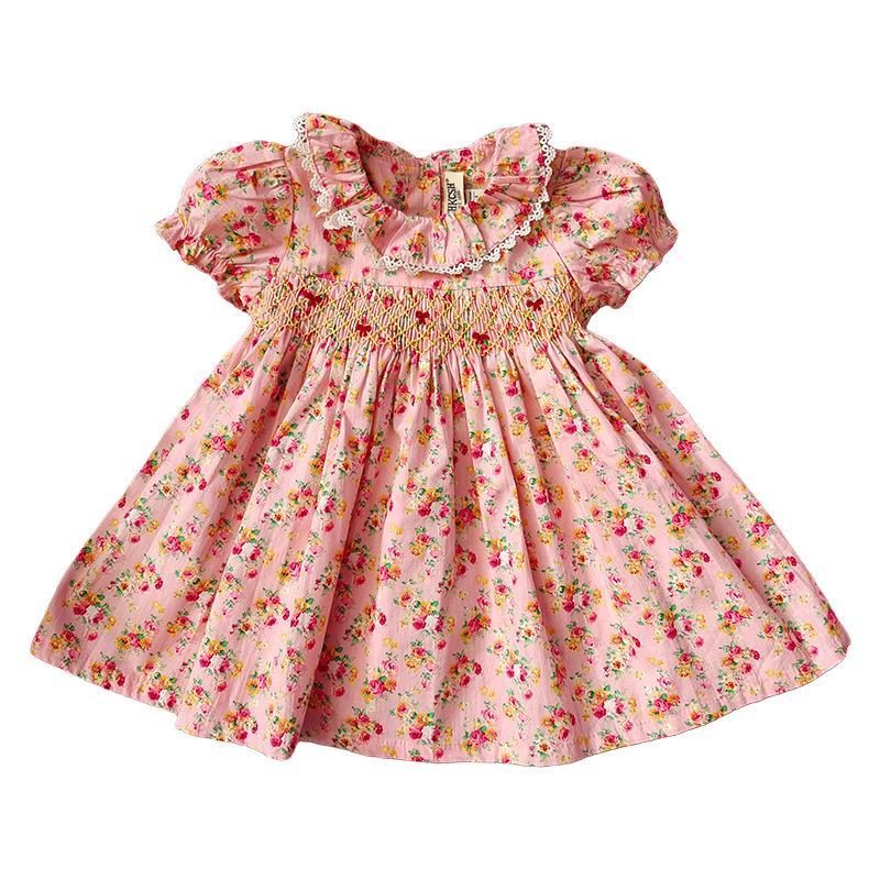 Девушки платья Новые маленькие девочки, ударили цветочное платье ребенка ручной работы одежда для одежды малыш девушка британский принцесса платья младенец бутик