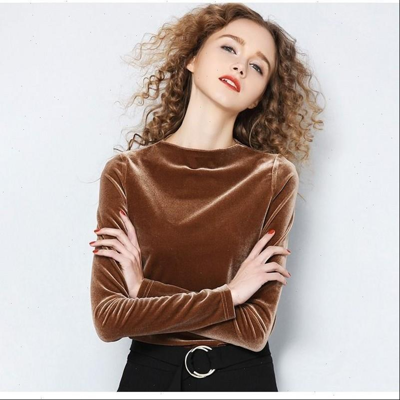 Frühling Frauen T-shirts Langarm Lose Frühes Herbst Hemd Gold Samt Kurzer Absatz Bottoming Mode Top