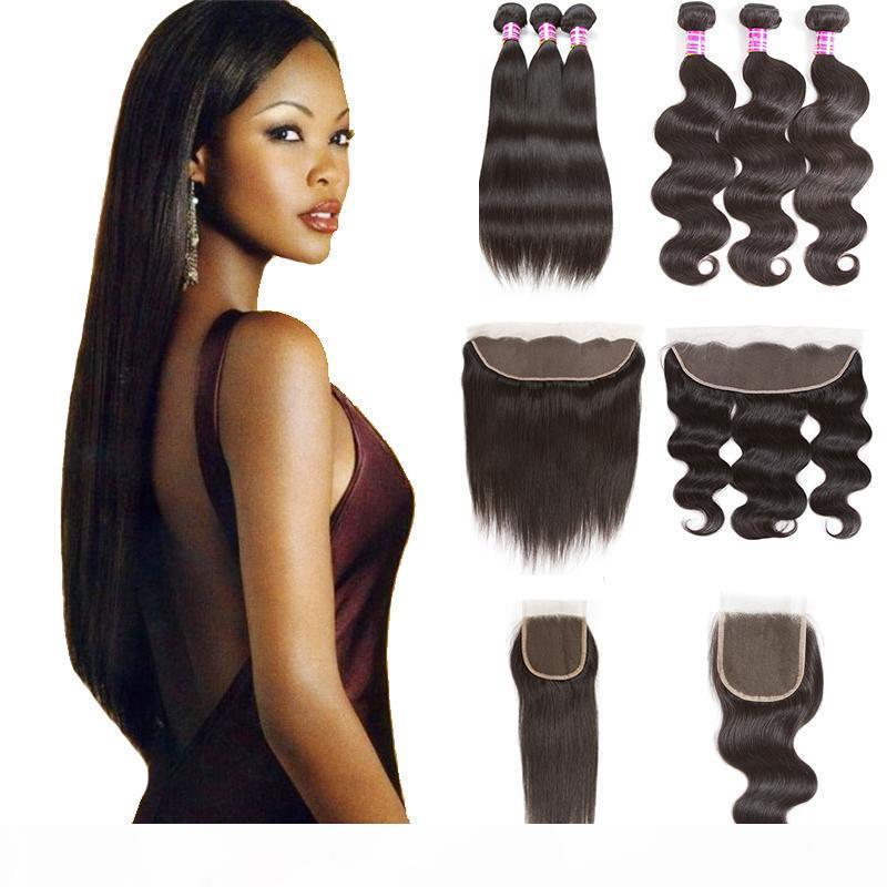 Raw Indian Virgin Human Hair Bundles with Closure 10A Straight Extensions Unprocessed Body Wave Hair Weaves with Frontal Bulk Order Vendor