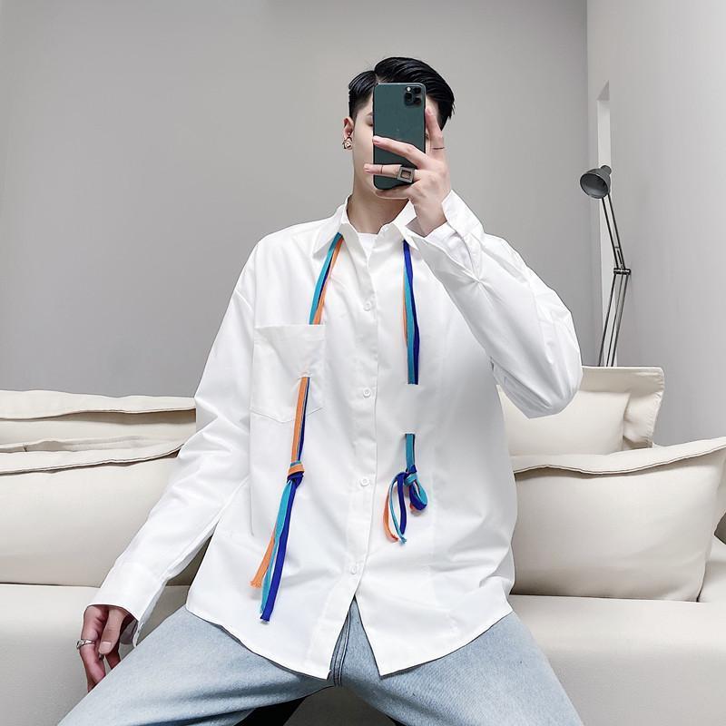 커플 봄 패션 셔츠 한국어 큰 흰색 코튼 셔츠 망 스트 라이프 롱 소스 럭셔리 Camisa Masculina 의류 EG50SH 남자 캐주얼