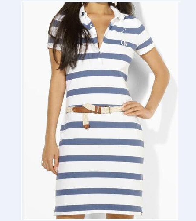 Frauen Neue Polo Kleid Sommer gestreiftes dünnes T-Shirt Kleid Kurzarm Quadratisches Nackenkleid