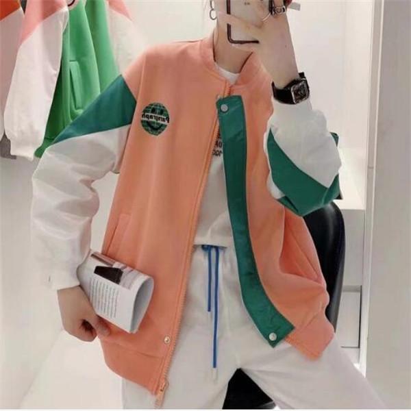 2021 Primavera New Women's Contrast Color Smiley Face Matching Giacca da baseball Giacche Cappotto corto Zipper Top Vestiti Top
