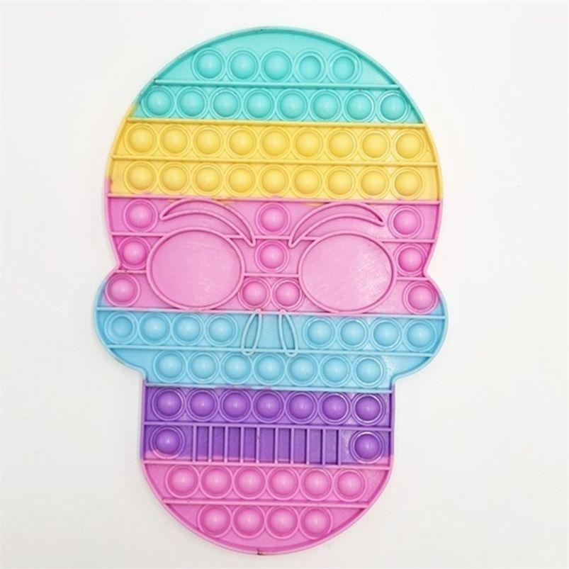 28.2CM glow in dark skeleton skull head large fidget toys luminous halloween push pop bubble poppet board kids sensory stress relief decompression toy ball G912I10