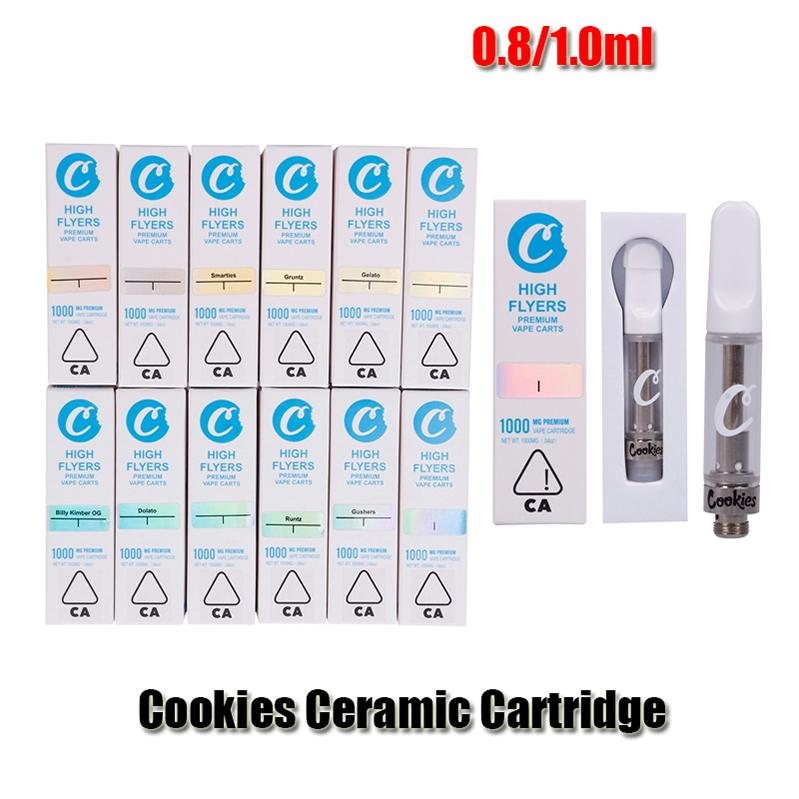 Cookies Carts High Flyers Vape Atomizer E Cigarettes Cartridges Thick Oil TH205 Ceramic Coil 1ml 0.8ml Empty Glass Tank Packaging For 510 Thread Battery Pen Kit