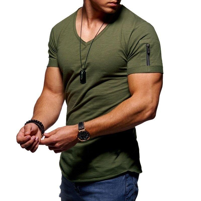 T-shirt dos homens Causal de Algodão V Pescoço Zipper Casual Algodão Top Fitness Bodybuilding Sport