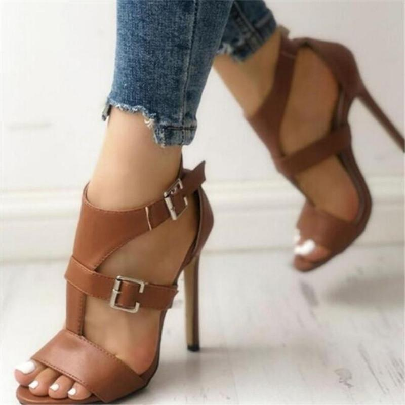 Kadın Sandalet Yaz Gladyatör Güzel Yüksek Topuklu Deri Peep Toes Ayak Bileği Toka Kayış Kadın Parti Ayakkabı Siyah Sandalia Mujer 2021 Elbise