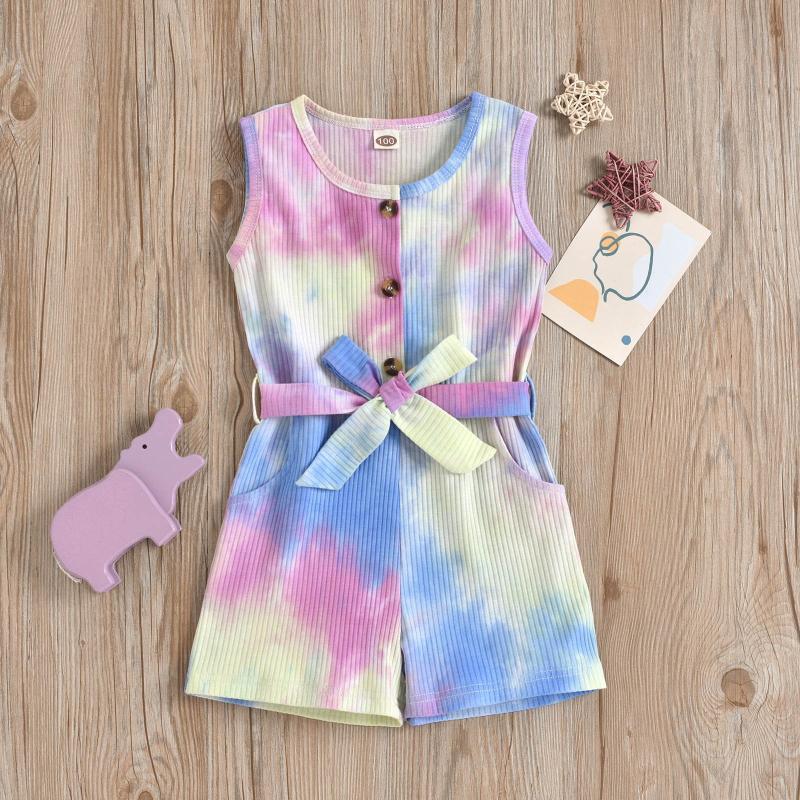 Jumpsuits Kleinkind Baby Mädchen binden gefärbte Print Strampler mit Gürtel Sommer Sleeveless Buttons Multicolor Jumpsuit Schmetterling Bogen Outfits