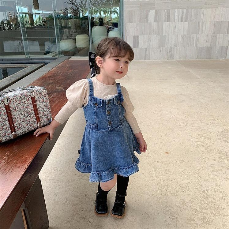INS Fashion Kids Denim Suspender Dress Quality Children Falbala Soft Cowboy Korean Style Girls ruffle Outwears