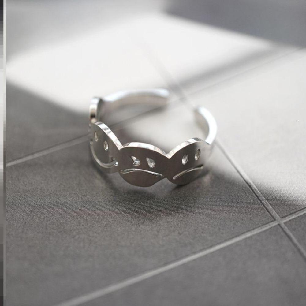 Por trás do canto sorridente titanium aço titanium velho abertura simples multidão temperamento moda casal indicador fresco