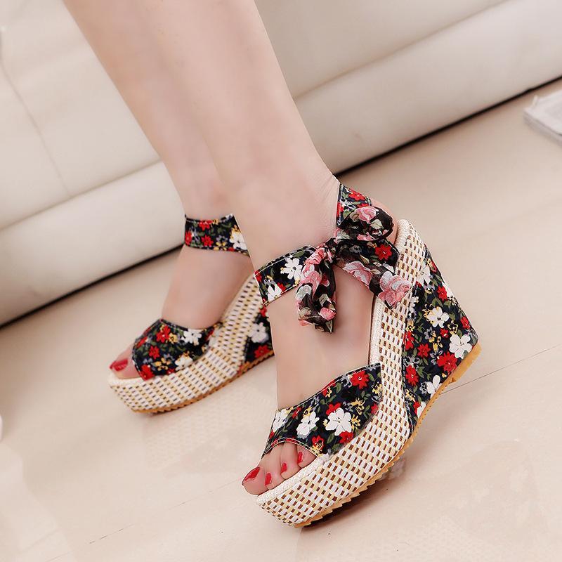 Summer Beach Boho Floral Wedge Sandals Women Ankle Strap Platform Gladiator Shoes Woman High Heels Sandalias Mujer 2020 Dot Bowknot Sandals