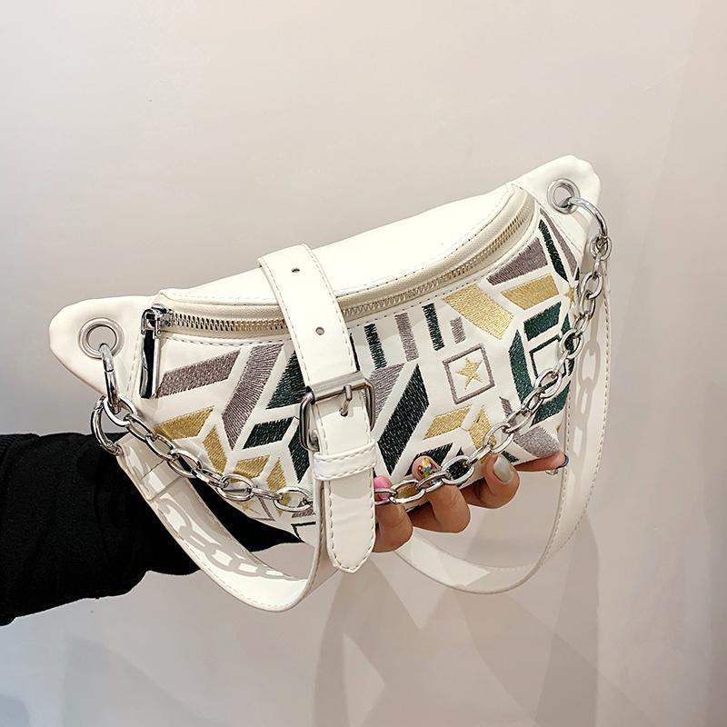 Nicho Design Ins Bag Feminino 2021 Moda Messenger Bordado Cintura Cintura Ombro Largura: 29cm sacos