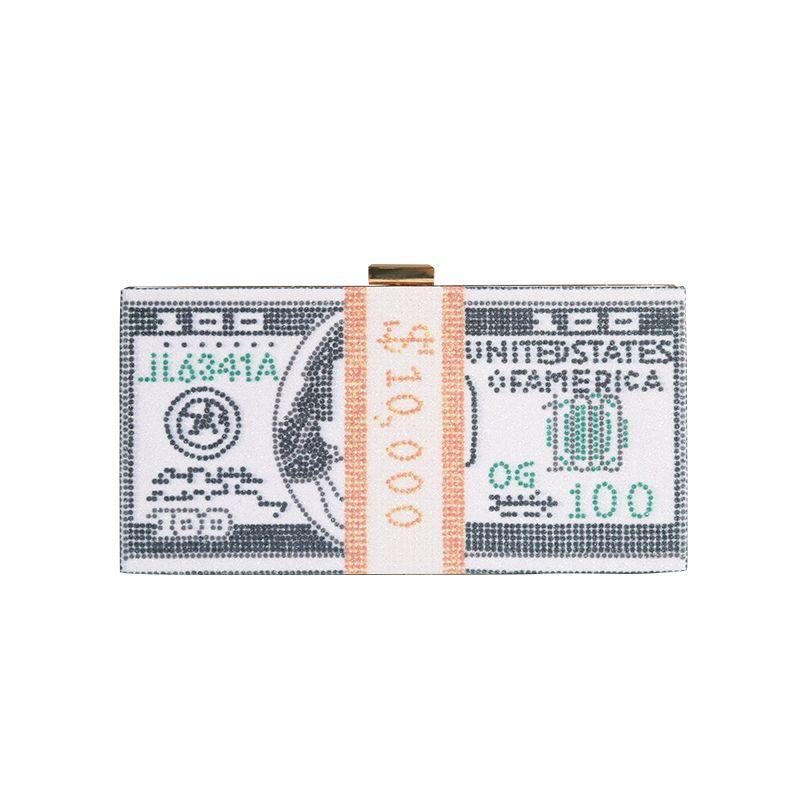 Factory Retaill Wholesale Marque neuve NOUVEAU Pochette de soirée USA Dollar USA avec satin pour mariage / banquet / fête / porm