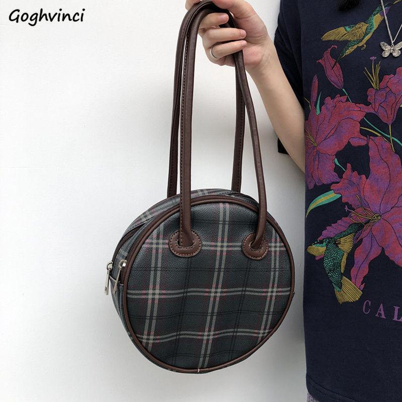 Umhängetaschen Frauen Vintage Circular Plaid Underarmsack Ins Retro Korean Stil PU-Leder Handtaschen Weibliche Hohe Qualität All-Match-Kreuzkörper