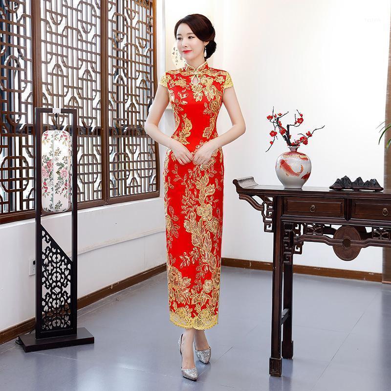 패션 파티 cheongsam 오리엔탈 이브닝 드레스 중국 스타일 여성 우아한 qipao 섹시한 긴 robe 레트로 Vestido 플러스 사이즈 S-4XL1