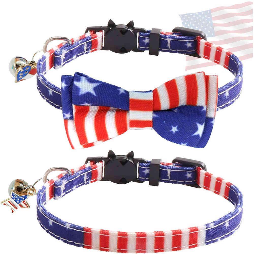 Bandera estadounidense Dog Cat Collar con encanto Bowtie Día de la Independencia Cute Steadstripes Impreso Puppy Breakaway Collor 4 de julio