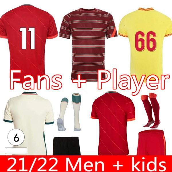20 21 22 Mens Kit Kit de Futebol Jerseys Maillot De Foot Soccer Jersey Camisa de Futebol 2021 2022 Home Away Camiseta de Fútbol Futebol Jogador Fãs Uniform Sock Sock