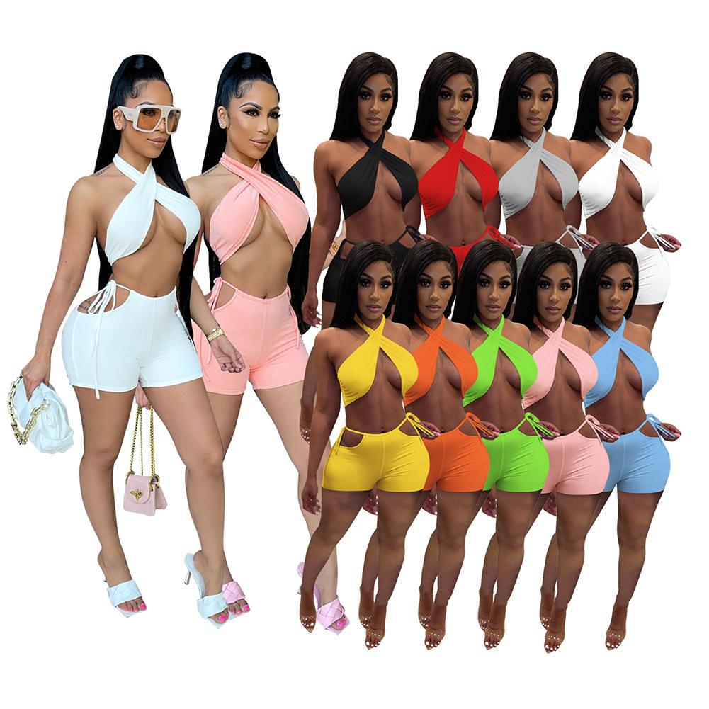 Women Tracksuits Two Pieces Set Designer Clothes Slim Sexy Crop Tops Casual Suits Solid Colour Sleeveless Shorts Sportwear Outfits