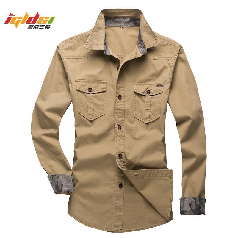 남성용 코튼화물 셔츠 봄 긴 소매 남성 전술 능 직물 작업 셔츠 포켓 캐주얼 슬림 피트 ichise homme 플러스 사이즈 5XL