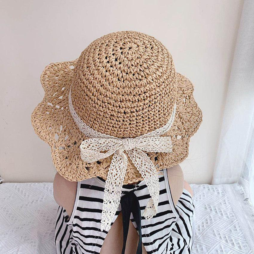 Summer Lace Bow Knitted Hat Kids Beach Hats Girls Boys Outdoor Grass Braid Sun Cap Child Fisherman Visor Caps LLA666