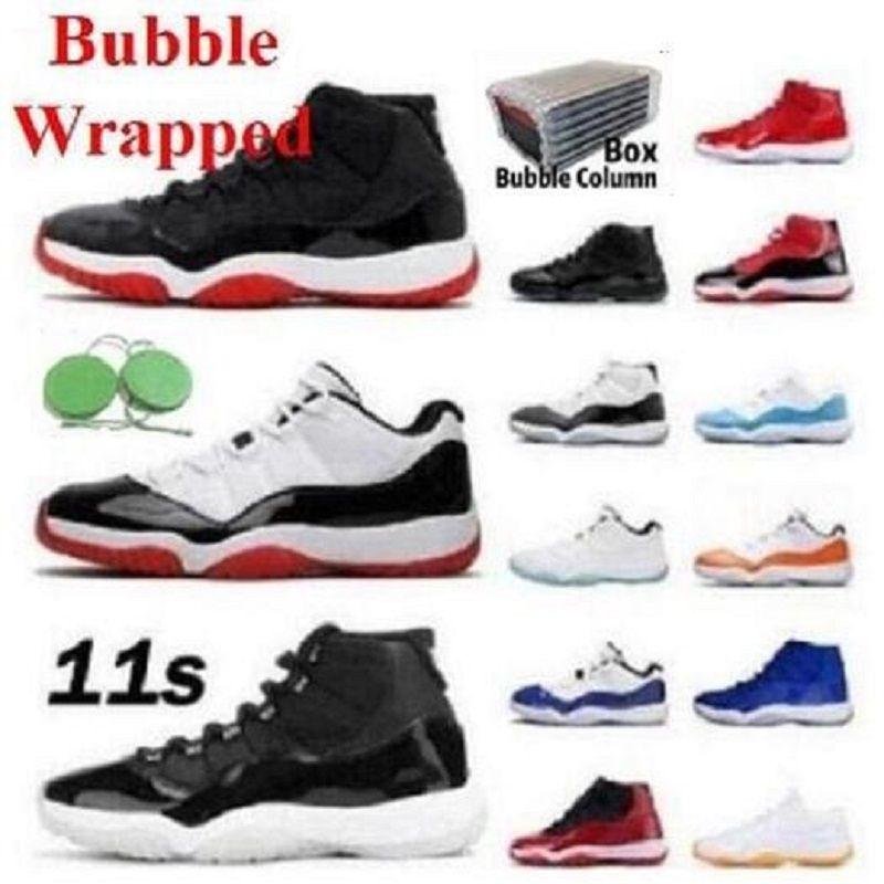 С коробкой верхней мужской женщины баскетбольные туфли jumpman 11 низкий белый разводки 11s cockord 45 23 космические джем спорт змея розовые золотые мужчины женщины кроссовки 25-й годовщины