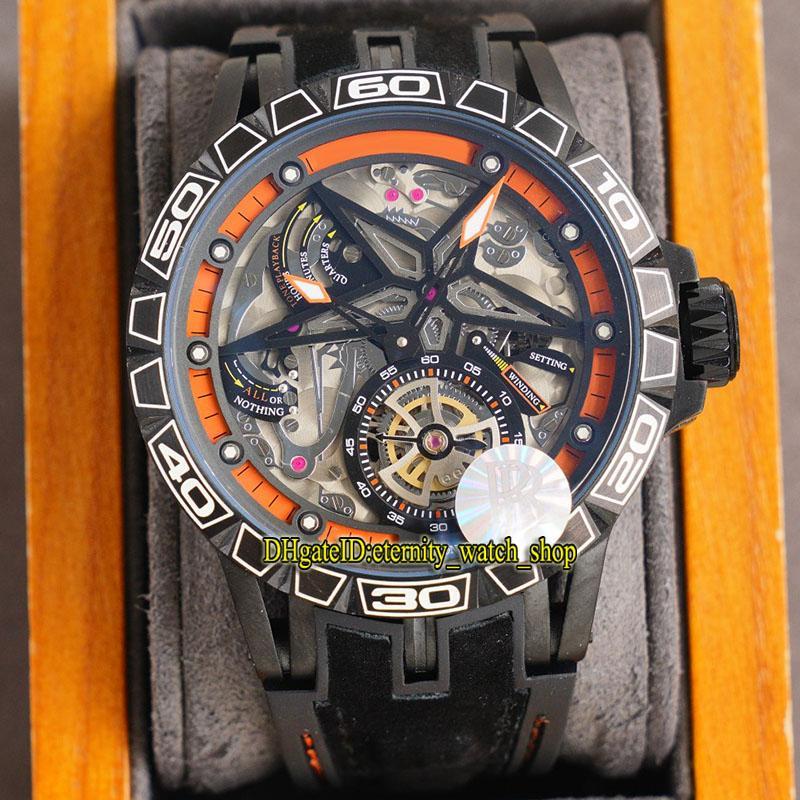 Eternity Sport Relógios RRF V2 Upgrade RDDBEX0774 Excalibur Spider Skeleton Dial Mecânica Mãos-Enrolamento Mens Relógio Preto Bezel 316L Caixa de Borracha Caixa