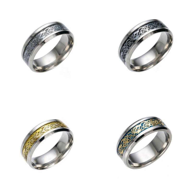 pretty Stainless Steel Ring Mens Gold Dragon 316L for Men Lord Wedding Male Luxury Band Ring for Lovers Men Rings 28 W2