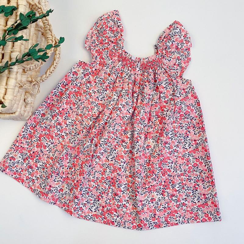 여자 비치 드레스 여름 전체 블루 베리 인쇄 패턴 아이 러버 레이스 드레스 의류 어린이 의상 소녀의