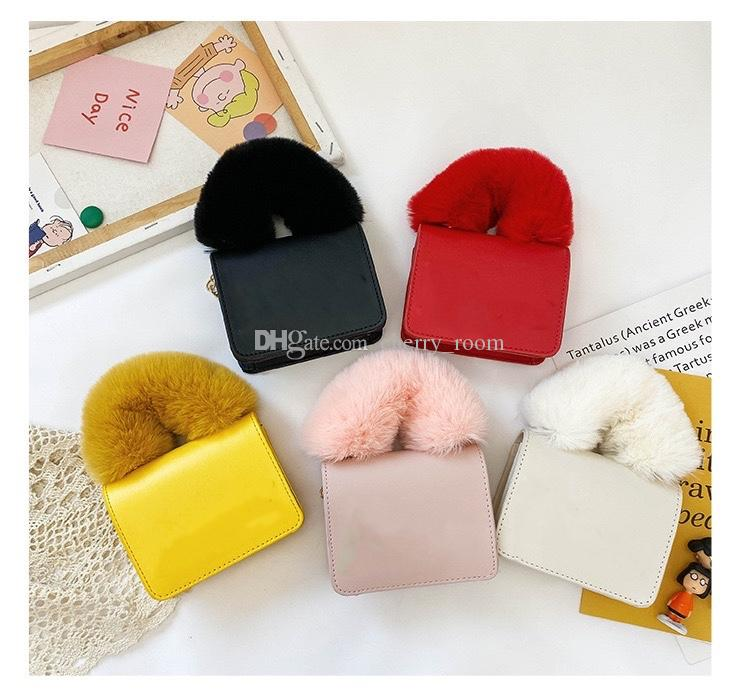 girls designer handbags fashion children letter PU Leather mini change purses winter kids fleecy chain casual one shoulder bags woman messenger bag F233