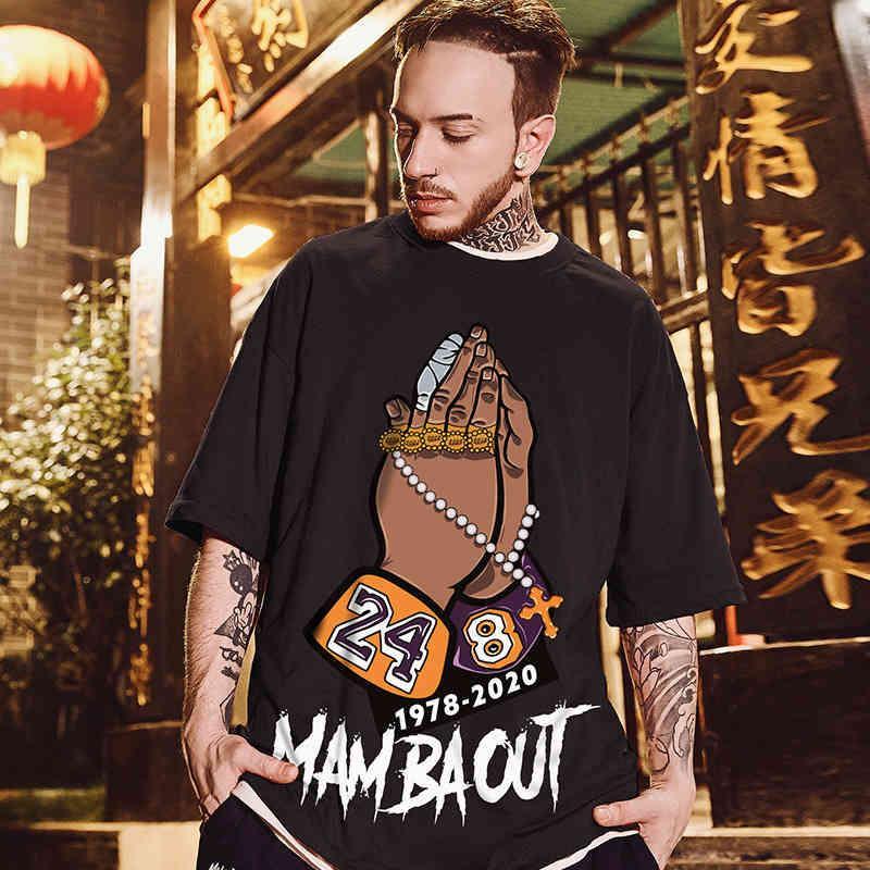 Solta oversize marca curto gordura hip hop manga t-shirt juventude grande moda homens 8xl