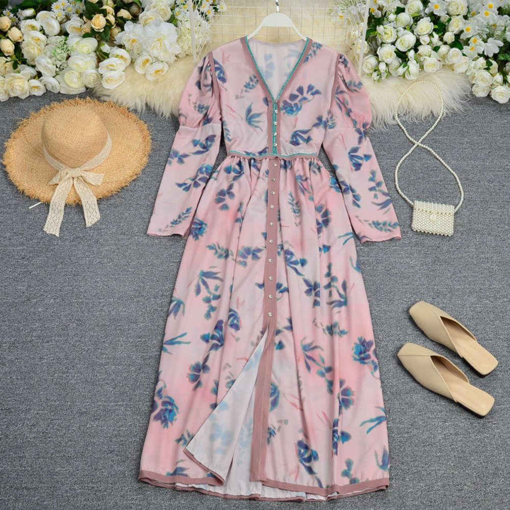 Повседневные платья модные напечатанные для женской домы, цветная кнопка подходящего цвета вниз поэтапное шоу тонкий и длинный DRS