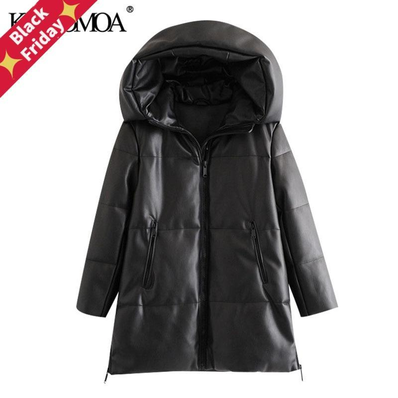 여성 2021 패션 두꺼운 따뜻한 겨울 가짜 가죽 파카 코트 빈티지 후드 후드 롱 슬리브 여성 겉옷 세련된 오버 코트 여성 다운