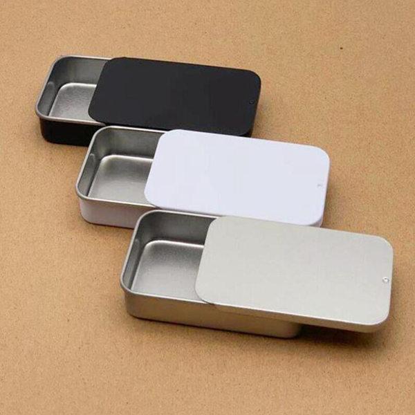 عادي الفضة اللون الشريحة الأعلى القصدير مربع، مستطيل الحلوى USB مربع حالة الحاويات بالجملة