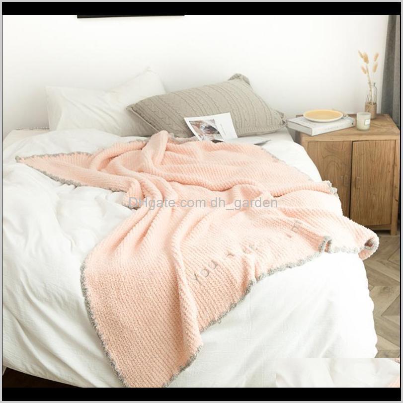 Super weiche Bettdecke Chic Rosa Mikrofaser Warm Plüsch BettPreads Grau Wurf für Sofa Manta Home Decor 130x170cm Decken S6DX1 9Y1BO