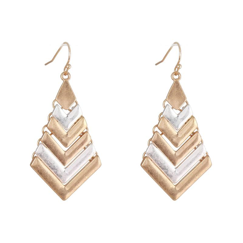 Geometric V Shaped Metal Mixed Colors Chandeliers Earrings Punk Fashion Dangles Holidays Party Birthday Gifts For Women Modern Long Accessories