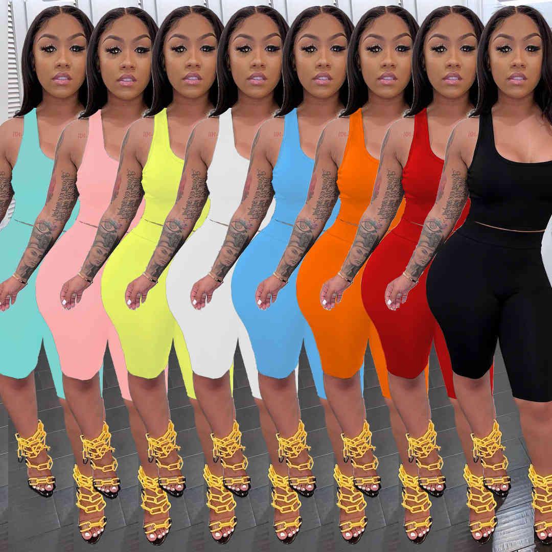 Frauen Mode lässig Solide Farbe Weste Shorts Slim Sport Trainingsanzüge Zwei Teile Set Jogging Anzüge der neuen Auflistung DHL