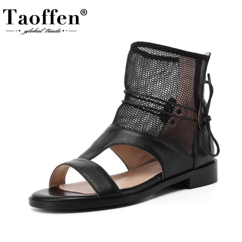 Taillen Frauen Sandalen echtes Leder aushöhlen Reißverschluss Schuhe für Sommer Mode Outdoor Casual tägliche Schuhe Größe 33-42