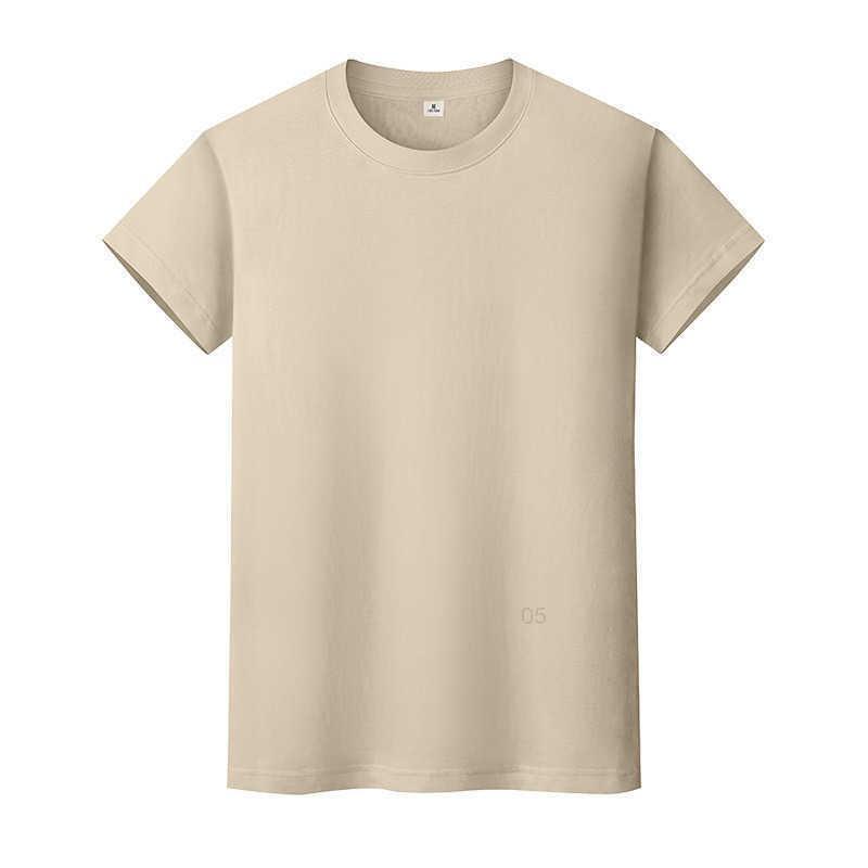 Новая круглая шея сплошная цветная футболка летняя рубашка с хлопковым дном с короткими рукавами мужские и женские половины рукава TR4TI