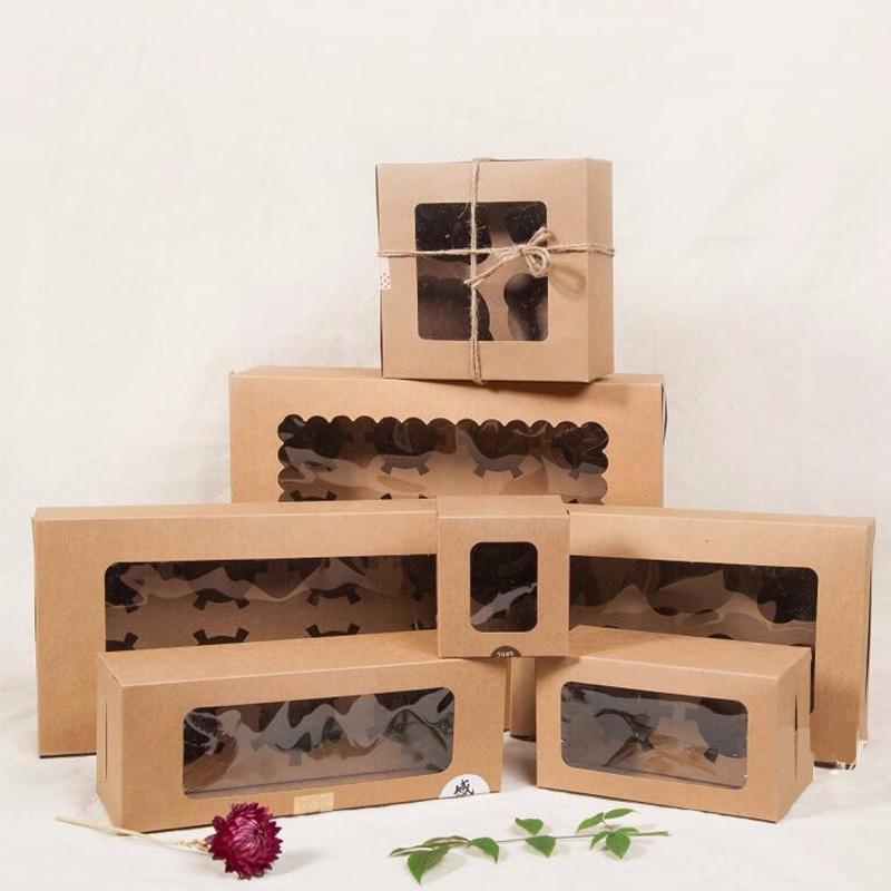 Geschenk Wrap 15 stücke Kraft Paper Box 1/3/3/4/4/6/8 Tasse Kuchenverpackung Braun / Blau Karton Geschenkboxen Backen Food Food Cupcake 6 Größen
