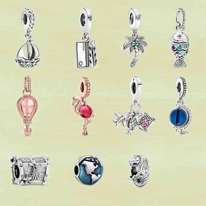2021 Summer S925 Silver charm Blue Globe, Movie Clapper, Merlion, Sailboat Dangle, High-quality Jewelry For Ladies As Gifts