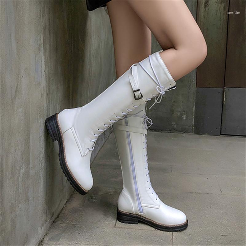 كبيرة الحجم 43 الدانتيل يصل الركبة أحذية عالية النساء الخريف لينة الجلود الأزياء الأبيض مربع كعب امرأة الأحذية الشتاء الساخن بيع 1