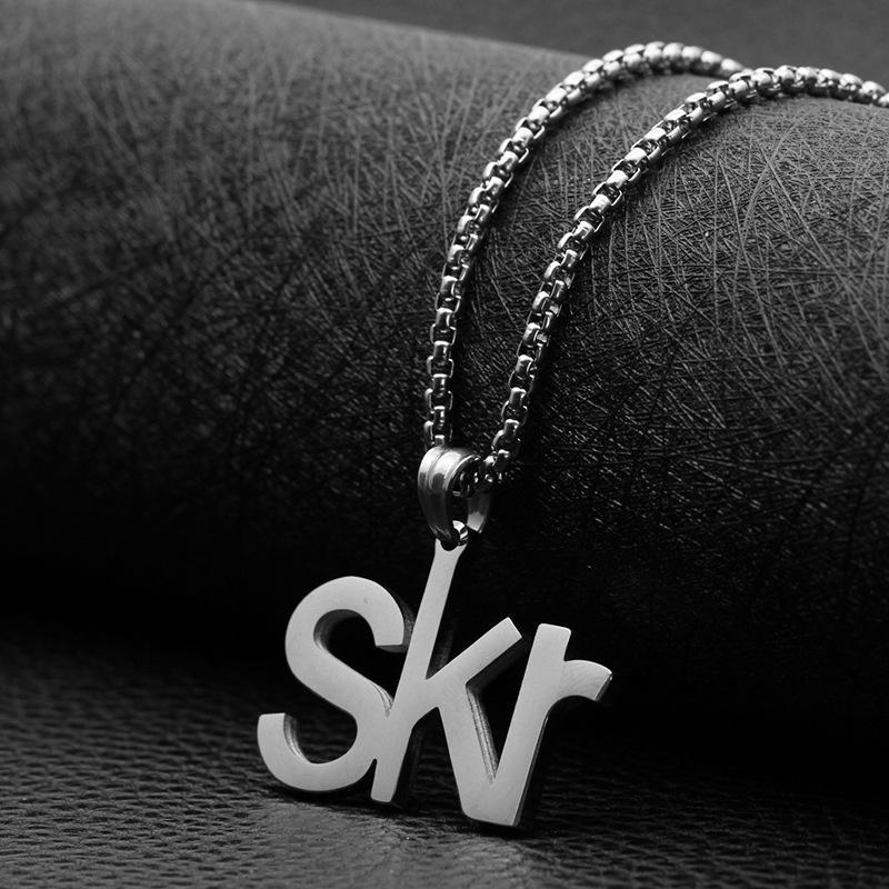 Kette Halskette Edelstahl Buchstabe SKR Silber Farbe Rapper Anhänger Männer Frauen Street Metal Hip Hop Dekorative Schmuck Halsketten