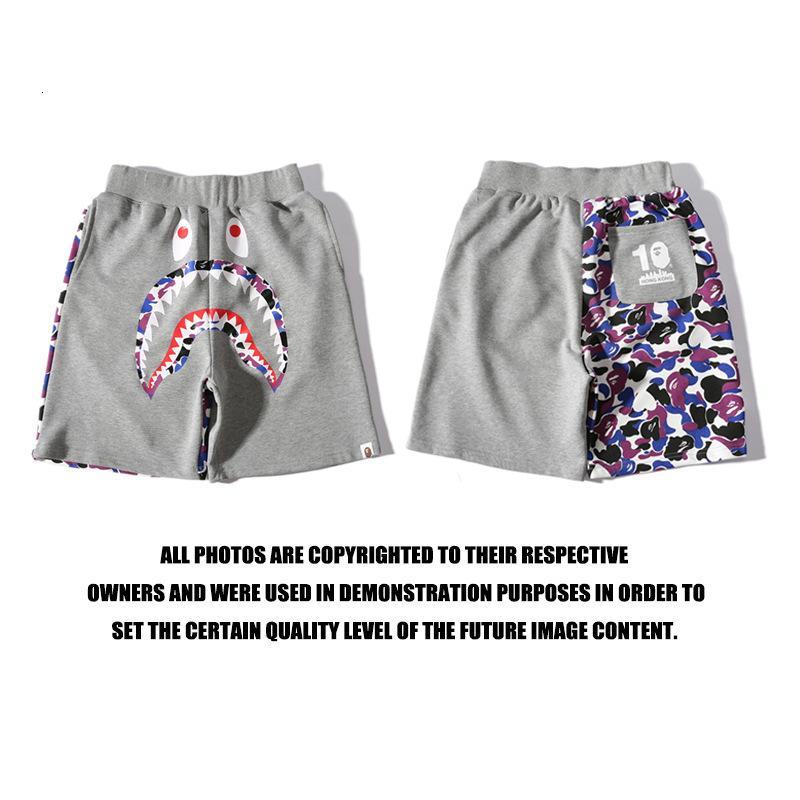 Pantalones cortos para hombres Hombres 2021 calle Tarjeta Tiburón Color Contraste Casual Shorts Juvenil Capris