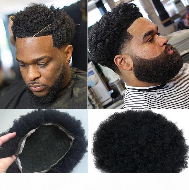 Erkek Hairpieces Afro Curl İnsan Saç Tam Dantel Peruk Jet Siyah Renk # 1 Perulu Bakire Saç Erkek Saç Yedek Peruk Siyah Erkekler Için