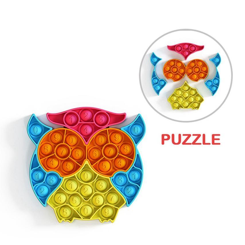 Eule Form Pop Zappel Push Bubble Puzzle Spielzeug mit Figur Stress Reliever Sensorische Silikon Spielzeug Kinder Erwachsene Geschenk von Sea LLA621