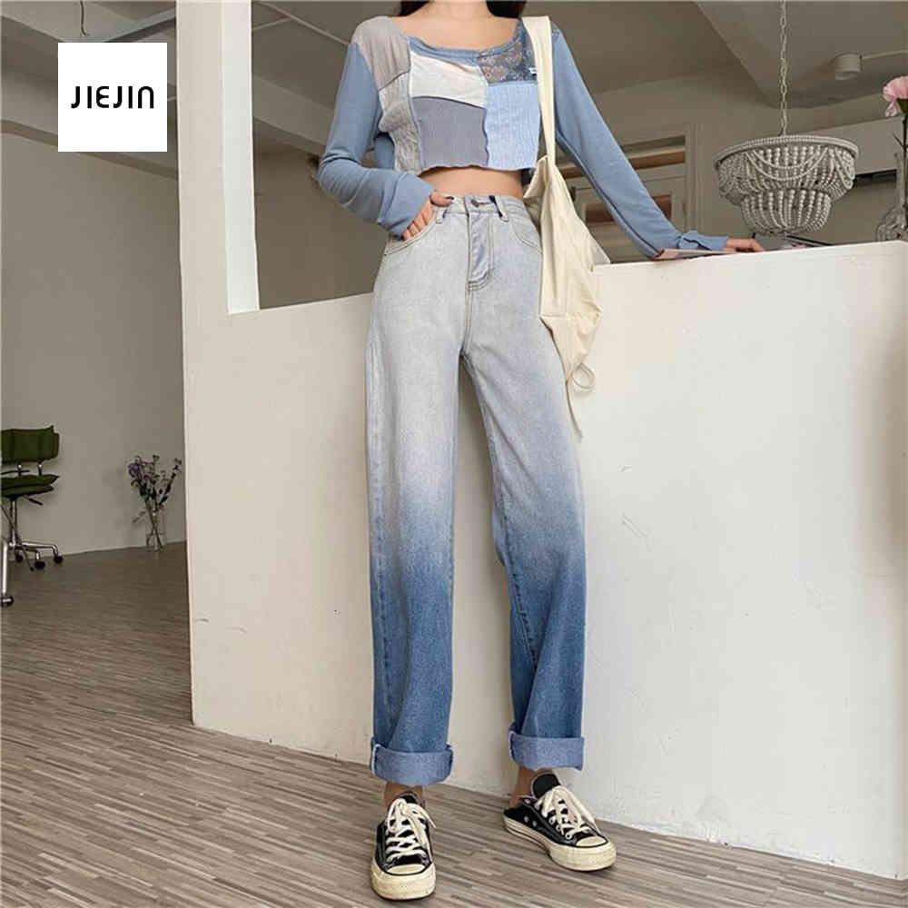 Pantaloni da donna di colore gradiente Pantaloni da donna ad alta vita larga gamba jeans pantaloni blu streetwear vintage qualità harajuku pantaloni