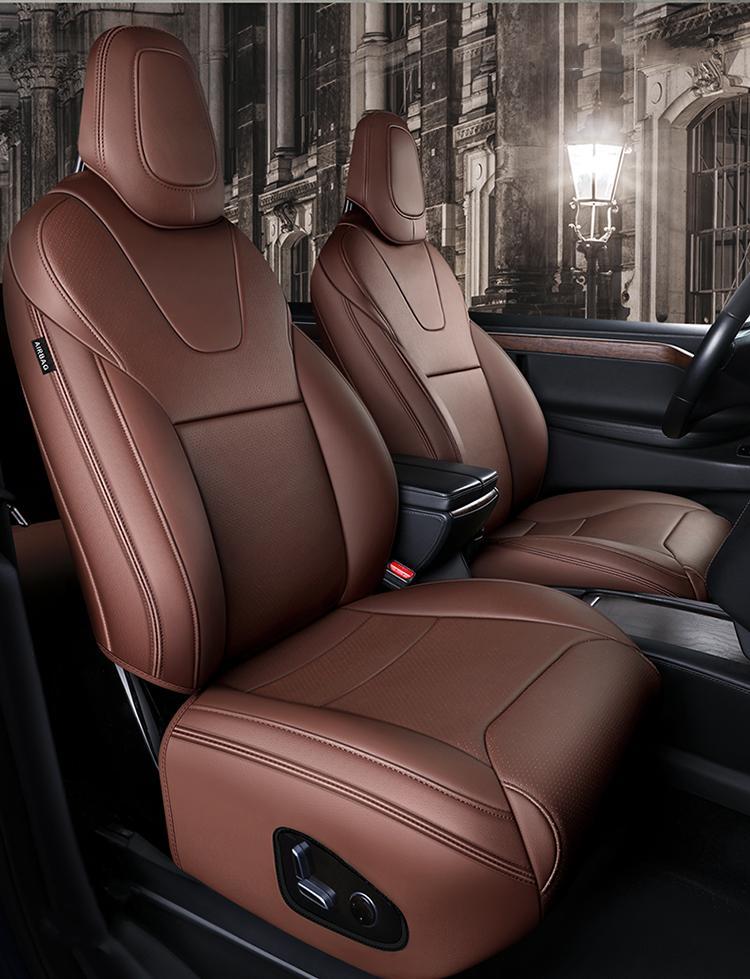 Tesla için Araba İç Aksesuar Koltuk Kapağı Model X 360 Derece Tam Kaplı Yüksek Kaliteli Deri Yastık Uygun 6 Kişisel Tasarım (Sadece Modelx)