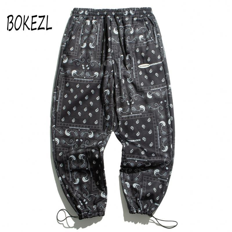 Bandana Paisley 패턴 인쇄 스웨트 스트리트웨어 힙합 캐주얼 조깅 탄성 허리 땀 팬츠 망 2021 바지 남자