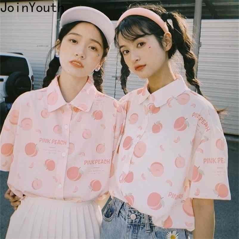 Peach Parted Рубашка Японский Опрятный стиль Блузки Женщины Blusas Mujer de Moda с коротким рукавом Шифоновая блузка Топы 210506