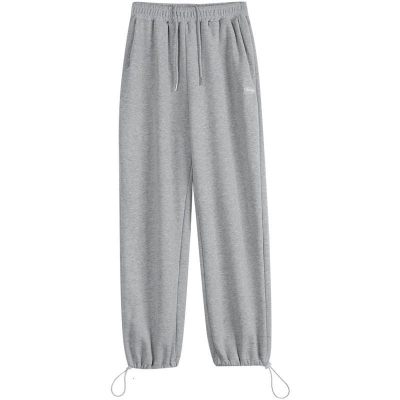 Pantalón femenino 2021 primavera y verano drapeado sentirse negro suelto piernas ocio deportes harem pantalones estudiante
