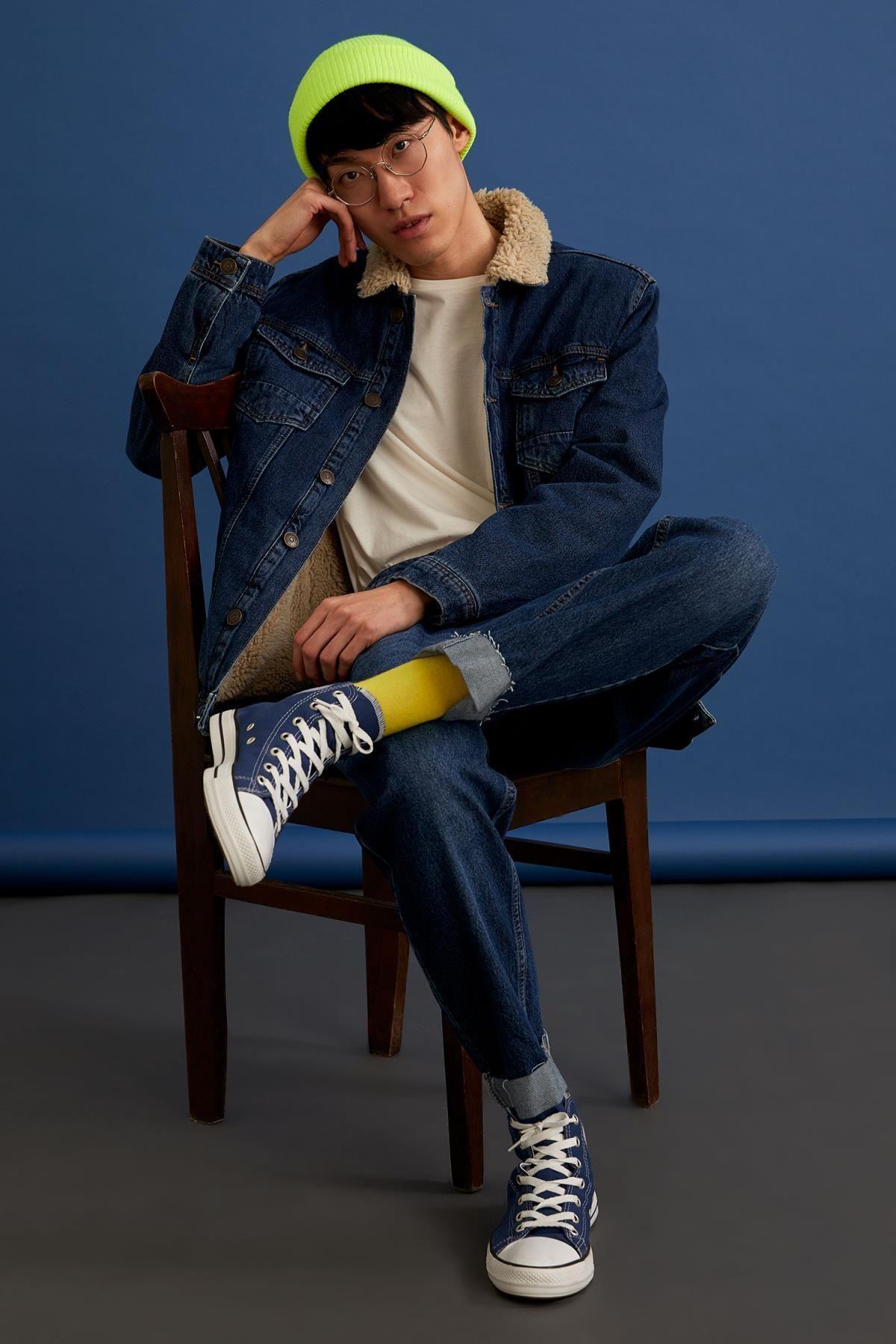 Defacto inverno uomo cappotti giacche fit fit pelliccia peluche stagionale slim jean cappotto tuta sportiva caldo moda nuovo stagione-r6823az20wn20wn